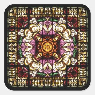 天使の窓の万華鏡のように千変万化するパターンのステッカー スクエアシール
