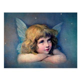 天使の絵画のヴィンテージ ポストカード