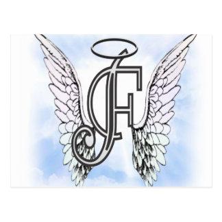 天使の翼およびハローのモノグラムの手紙F ポストカード