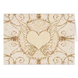 天使の翼およびハート グリーティングカード