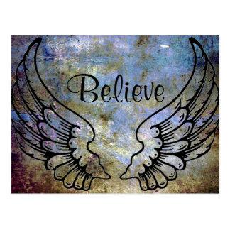 -天使の翼に天の郵便はがきを信じて下さい ポストカード
