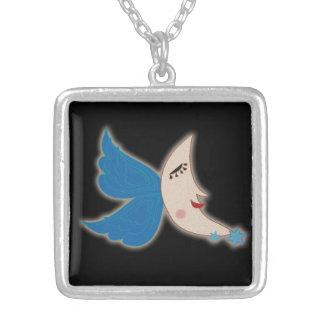 天使の翼の月 シルバープレートネックレス