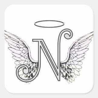 天使の翼及びハローの手紙Nの最初のモノグラム スクエアシール