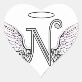 天使の翼及びハローの手紙Nの最初のモノグラム ハートシール