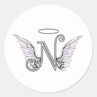 天使の翼及びハローの手紙Nの最初のモノグラム ラウンドシール