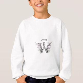 天使の翼及びハローの手紙Wの最初のモノグラム スウェットシャツ