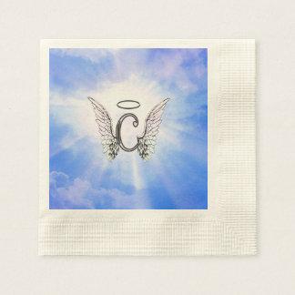 天使の翼、ハローの雲が付いている最初のモノグラムC 縁ありカクテルナプキン