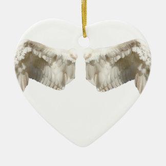 天使の翼 陶器製ハート型オーナメント