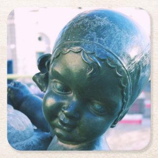 天使の顔-青銅色の彫像のコースター スクエアペーパーコースター