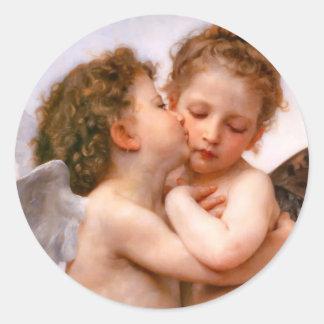 天使は最初に、Bouguereau接吻します ラウンドシール