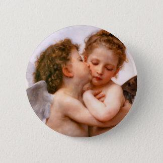 天使は最初に、Bouguereau接吻します 5.7cm 丸型バッジ