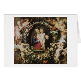 天使マドンナおよび子供のRubensのファインアート カード