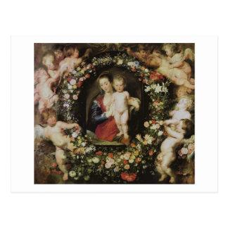 天使マドンナおよび子供のRubensのファインアート ポストカード