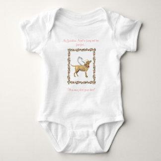 天使犬のピンクのバラ ベビーボディスーツ