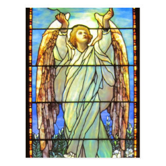 天使、ステンドグラス、 ポストカード