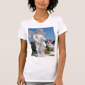 天使|彫像|コケ|緑 T-シャツ