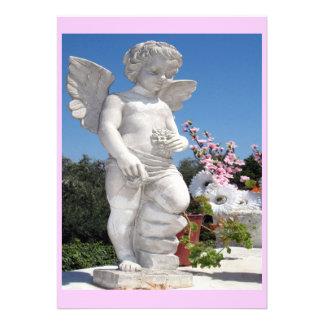天使 彫像 ピンク 白い