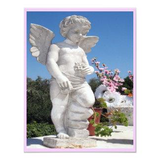 天使|彫像|ピンク|白い|III 10.8 X 14 インビテーションカード