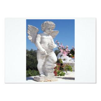 天使|彫像|白い|灰色|I 12.7 X 17.8 インビテーションカード