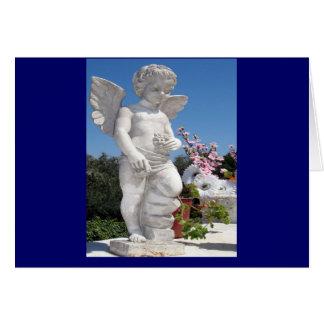 天使 彫像 青い グリーティングカード