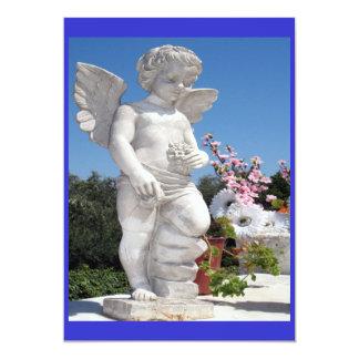 天使|彫像|青い|灰色 12.7 X 17.8 インビテーションカード