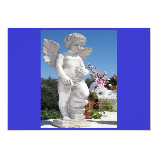 天使|彫像|青い|灰色|I 12.7 X 17.8 インビテーションカード