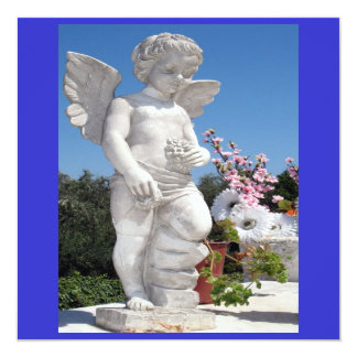 天使|彫像|青い|白い|V 13.3 スクエアインビテーションカード
