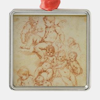 天使、17世紀初頭(紙の赤いチョーク) メタルオーナメント