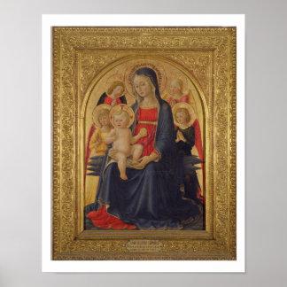 天使、c.1467 (窓ガラスのマドンナそして子供の油 ポスター