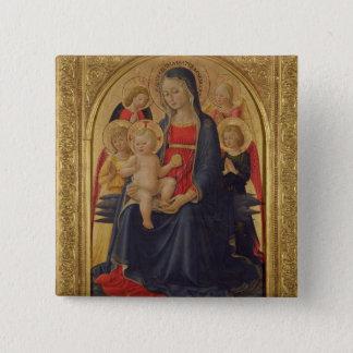 天使、c.1467 (窓ガラスのマドンナそして子供の油 5.1cm 正方形バッジ