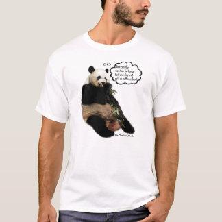 天候を深い思考を熟考しているかわいいパンダ Tシャツ