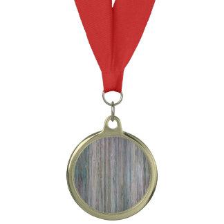 天候打たれたタケ木製の穀物の一見 メダル