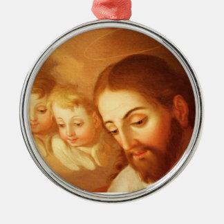 天国から熟視しているイエス・キリストおよび天使 メタルオーナメント