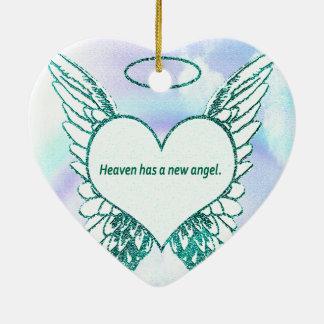 天国に新しい天使があります 陶器製ハート型オーナメント