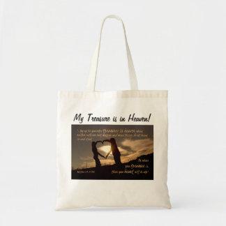 天国のMatthewの6:19 - 21冊の聖書の詩の宝物 トートバッグ