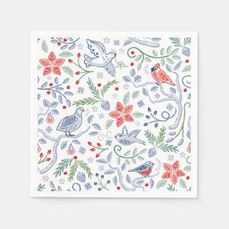 天国及び自然はクリスマスのナプキンを歌います スタンダードカクテルナプキン
