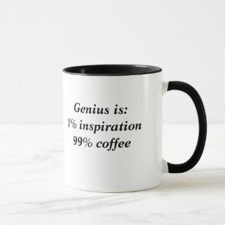 天才はインスピレーションおよびコーヒーです マグカップ