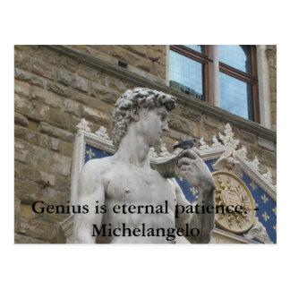 天才は永遠の忍耐です。 -ミケランジェロの引用文 ポストカード