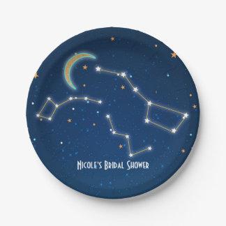 天星座を熟視する北斗七星の星 ペーパープレート