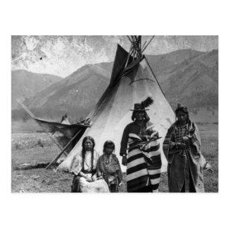 天然アメリカインディアンのヴィンテージのポートレート ポストカード