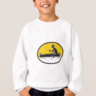 天然アメリカインディアンの漕ぐカヌーの木版画 スウェットシャツ