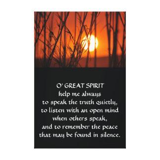 天然アメリカインディアンの祈りの言葉 キャンバスプリント