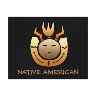 天然アメリカインディアンの顔 キャンバスプリント