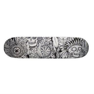 天然インドのスカルの骨組はスケート板に羽をつけます 21.6CM オールドスクールスケートボードデッキ