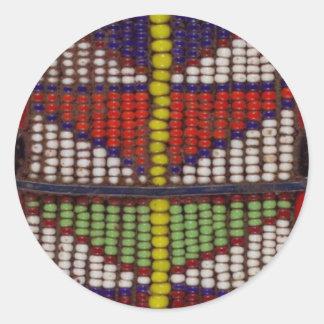 天然種族の幾何学的なビーズパターン ラウンドシール