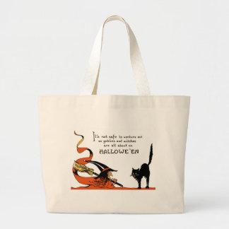 天狗巣の黒猫 ラージトートバッグ