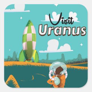 天王星のヴィンテージの漫画旅行ポスター スクエアシール