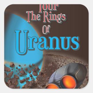 天王星旅行ポスターのリングや輪を旅行して下さい スクエアシール