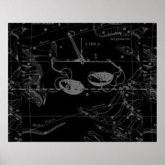 天秤座の星座の地図のHevelius 9月1690日10月 ポスター