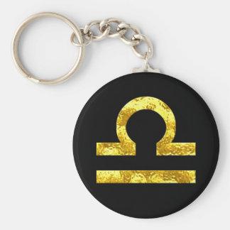 天秤座の(占星術の)十二宮図の印の黒の金ゴールドの記号 キーホルダー
